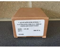 A2/SS Torx c/sunk wood screw 4x30mm x 500
