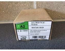 A2/SS Torx c/sunk wood screw 4x35mm x 500
