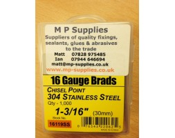 Brads ST/ST 16 gauge / 30mm (box 1000)