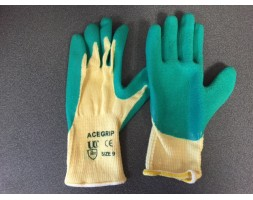 Gloves ace grip, latex palm Green pair (9/L)